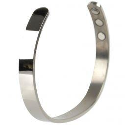 Unisex XL Magnetic Titanium Bracelet/Bangle Elegant Shiny Silver Colour 6 Magnets Health Rare Earth NdFeB