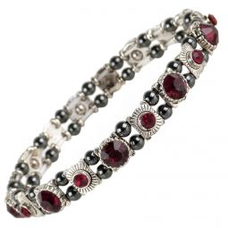 Ladies Magnetic Hematite Crystals Bracelet Pretty Colours Free Gift Box-Ruby