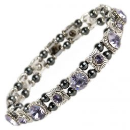 Ladies Magnetic Hematite Crystals Bracelet Pretty Colours Free Gift Box-Violet