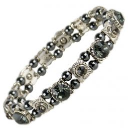 Ladies Magnetic Hematite Crystals Bracelet Pretty Colours Free Gift Box-Smokey Grey