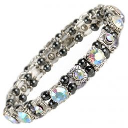 Ladies Magnetic Hematite Crystals Bracelet Pretty Colours Free Gift Box-Pearlescent