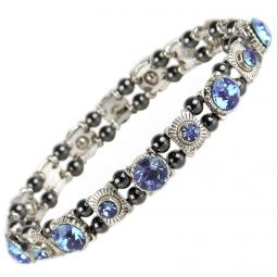 Ladies Magnetic Hematite Crystals Bracelet Pretty Colours Free Gift Box-Topaz