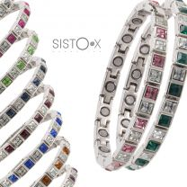 Sisto-X Ladies Magnetic Tennis Style Bracelet Square Crystals Health 15 Magnets