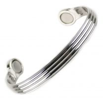 Super Strong MAGNETIC Bracelet/Bangle Copper with Chrome Finish DESIGN 6 Magnets Health Rare Earth NdFeB