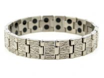 Mens Bark Design Silver Finish Titanium Magnetic Bracelet Health Magnet Therapy