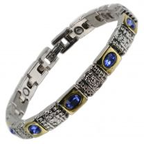 Ladies Magnetic Bracelet Faux Purple/Blue Crystals Magnets Health Therapy