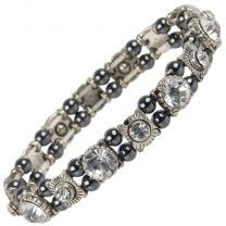 Ladies Magnetic Hematite Crystals Bracelet Pretty Colours Free Gift Box-Clear