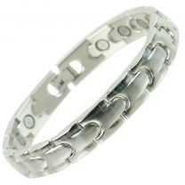 Stylish Copper Alloy with Chrome Finish Bracelet Hi Strength NdFeB 16 Magnets Single Row Therapy