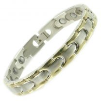 Stylish Magnetic Copper Alloy with Gold & Chrome Finish Bracelet Hi Strength NdFeB Ladies 10 Magnets Single Row Therapy