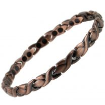Ladies Titanium Magnetic Bracelet with Antique Copper Finish Stylish Magnets Health Therapy