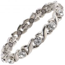 Ladies Titanium Magnetic Bracelet with Chrome & Clear Crystals Finish Stylish