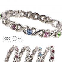 Sisto-X Ladies Copper Alloy Magnetic Faux Gem Crystals Bracelet 10 Magnets