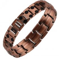 Copper Alloy Magnetic Barrel Design Bracelet by SISTO-X® Hi Strength 36 Magnets Double Row Therapy