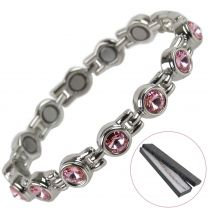 Ladies Magnetic Bracelet Faux Pale Pink Crystals Magnets Health Therapy Free Gift Box