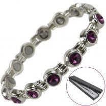 Ladies Magnetic Bracelet Faux Amethyst Crystals Magnets Health Therapy Free Gift Box