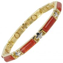 Ladies Magnetic Bracelet Faux Gemstones Magnets Red Jasper