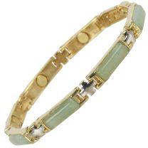 Ladies Magnetic Bracelet Faux Gemstones Magnets Jade Green