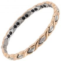 Ladies Titanium Magnetic Bracelet Sisto-X ® Pippa Rose Gold Crystals Gift Box Therapeutic