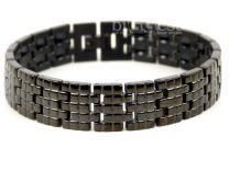 Mens Jet Black Finish Titanium Magnetic Bracelet Brick Design Health Magnets Therapy