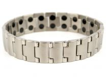Mens Copper with Chrome Finish Titanium Magnetic Bracelet Health 40 Magnets Therapy