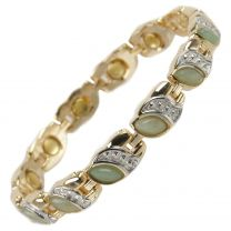 Ladies Magnetic Bracelet Faux Gemstones Magnets Elegant Jade Green