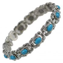 Ladies Magnetic Bracelet Faux Gemstones Magnets Turquoise Blue