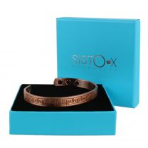 Slim Magnetic Therapy Bangle/Bracelet 6 Magnets Copper Greek Key Design Health Rare Earth NdFeB
