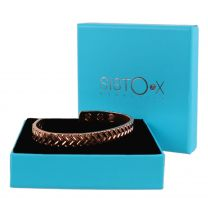 Slim Magnetic Therapy Bangle/Bracelet 6 Magnets Shiny Copper Tyre Tread Design NdFeB