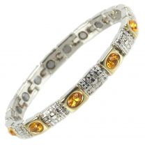 Ladies Magnetic Bracelet Faux Amber Orange Crystals Magnets Health Therapy