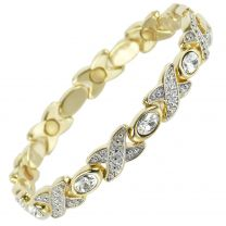 Ladies Magnetic Bracelet Faux Crystals Magnets Clear Womens Health Pretty Gems