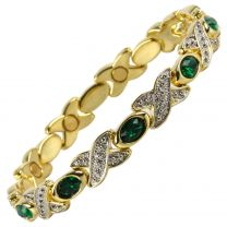 Ladies Magnetic Bracelet Faux Crystals Magnets Emerald Green