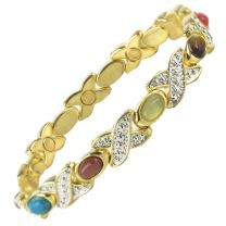 Ladies Magnetic Bracelet Faux Multi Gemstones Magnets