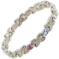 Ladies Sisto-X Magnetic Therapy Bracelet Silver Colour Pastel Faux Gems Gift Boxed