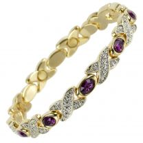 Ladies Magnetic Bracelet Faux Crystals Magnets Pretty Purple