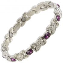Ladies Sisto-X Magnetic Therapy Bracelet Silver Colour Purple Faux Gems Gift Boxed