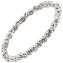 Sisto-X Ladies Magnetic Tennis Style Bracelet Clear Crystals Health 16 Magnets