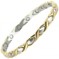 Ladies Stainless Steel Magnetic Bracelet with Gold & Chrome Finish Elegant Two-Tone Design