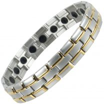 Mens Magnetic Stainless Steel Bracelet with Gold & Chrome Finish Strong MAGNETS Health NdFeB Neodymium Therapy