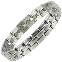 Mens Magnetic Stainless Steel Bracelet with Smart Chrome Finish Strong Magnets NdFeB Neodymium Health Therapy