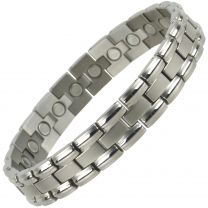 Mens Silver Finish Titanium Magnetic Bracelet Link Design Health 22 Magnets Therapy