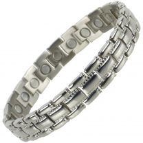 Mens Copper with Chrome Finish Titanium Magnetic Bracelet Health 22 Magnets Therapy