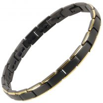 Ladies Titanium Magnetic Bracelet Black/Gold Bali Rare Earth Magnets Healing