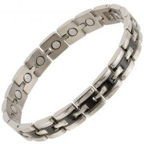 Sisto-X Mens Ladies 2 Tone Titanium Magnetic Therapy Bracelet NdFeB Boxed