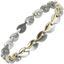 Ladies TITANIUM Magnetic Bracelet with Gold & Chrome Finish Hearts Design Stylish Magnets Health Therapy