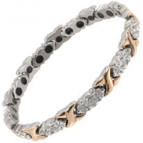 Sisto-X Ladies Titanium Magnetic Bracelet Diana Rose Gold Crystals Gift Box