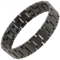 Sisto-X Mens Stainless Steel Magnetic Bracelet Black Cobra Health Rare Earth