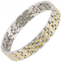 Sisto-X Mens Stylish Stainless Steel Magnetic Bracelet Earth Therapy 22 Magnets