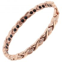 Ladies Titanium Magnetic Bracelet Sisto-X ® Lily Rose Gold Crystals Gift Box Theraputic