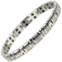 Sisto-X Ladies Titanium Magnetic Bracelet with Chrome Finish Stylish 34 NdFeB Magnets Health Therapy