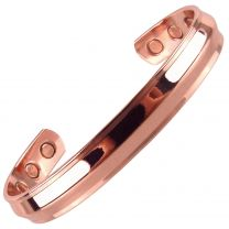 Chunky Copper MAGNETIC Bracelet/Bangle Shiny Copper Bevel DESIGN 6 Magnets Health Rare Earth NdFeB